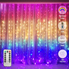 LED Rainbow Curtain Fairy Icicle Lights String Lights for Bedroom Backdrop Wall Christmas Wedding Birthday Xmas Party Home Decor