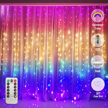LED Rainbow Curtain Fairy Icicle Lights String Lights for Bedroom Backdrop Wall Christmas Wedding Birthday Xmas Party Home Decor