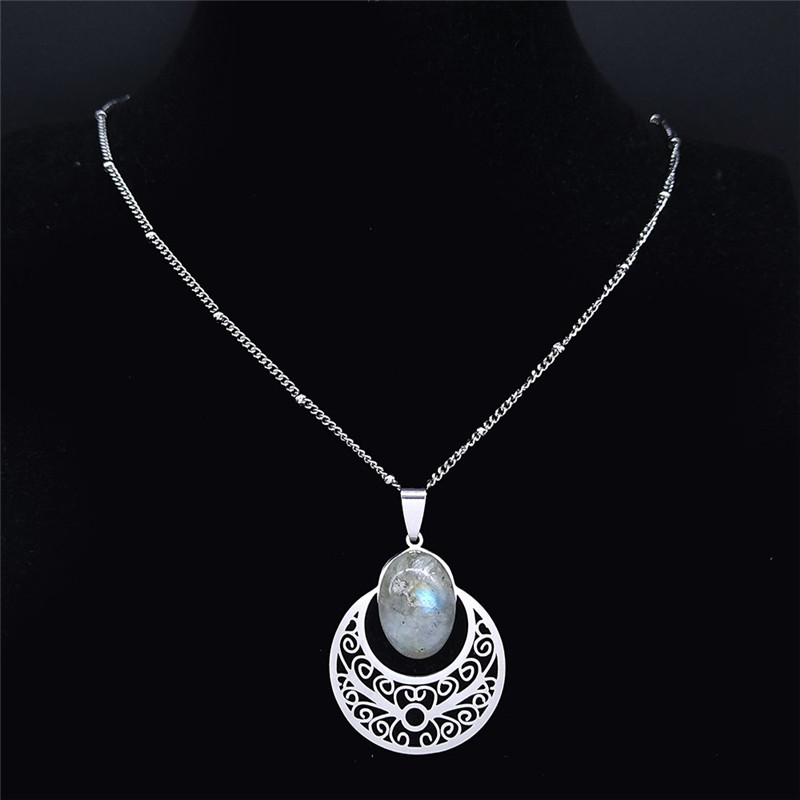 Flower of Life Stainless Steel Bohemian Necklace Women Flash Stone Silver Color Charm Necklaces Jewelry bijoux femme N4315S04