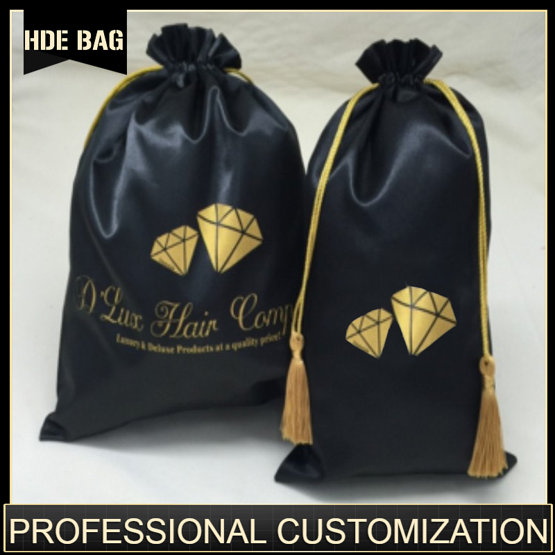 Satin Hair Bag Silk Drawstring Bag Hair Bundle Extension Wig Jewelry/Package/Cosmetic/Gift/Wedding/Party Pouch Custom Logo Print