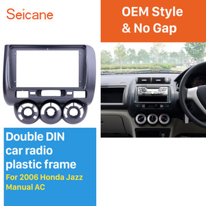 Image 1 - Seicane 9 polegada Cinza Quadro de Carro para 2006 Honda Jazz Manual AC Áudio Traço Painel de Guarnição Fascia Kit