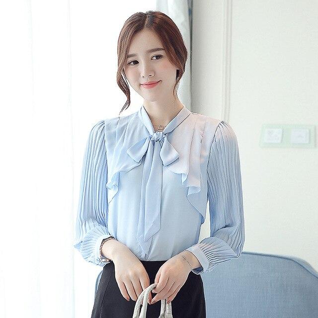 Elegant New Korean Chiffon White Shirt Summer Bow Tie Collar Ruffle Slim Office Blouse Women Casual Top Work Ropa Para Mujeres 3