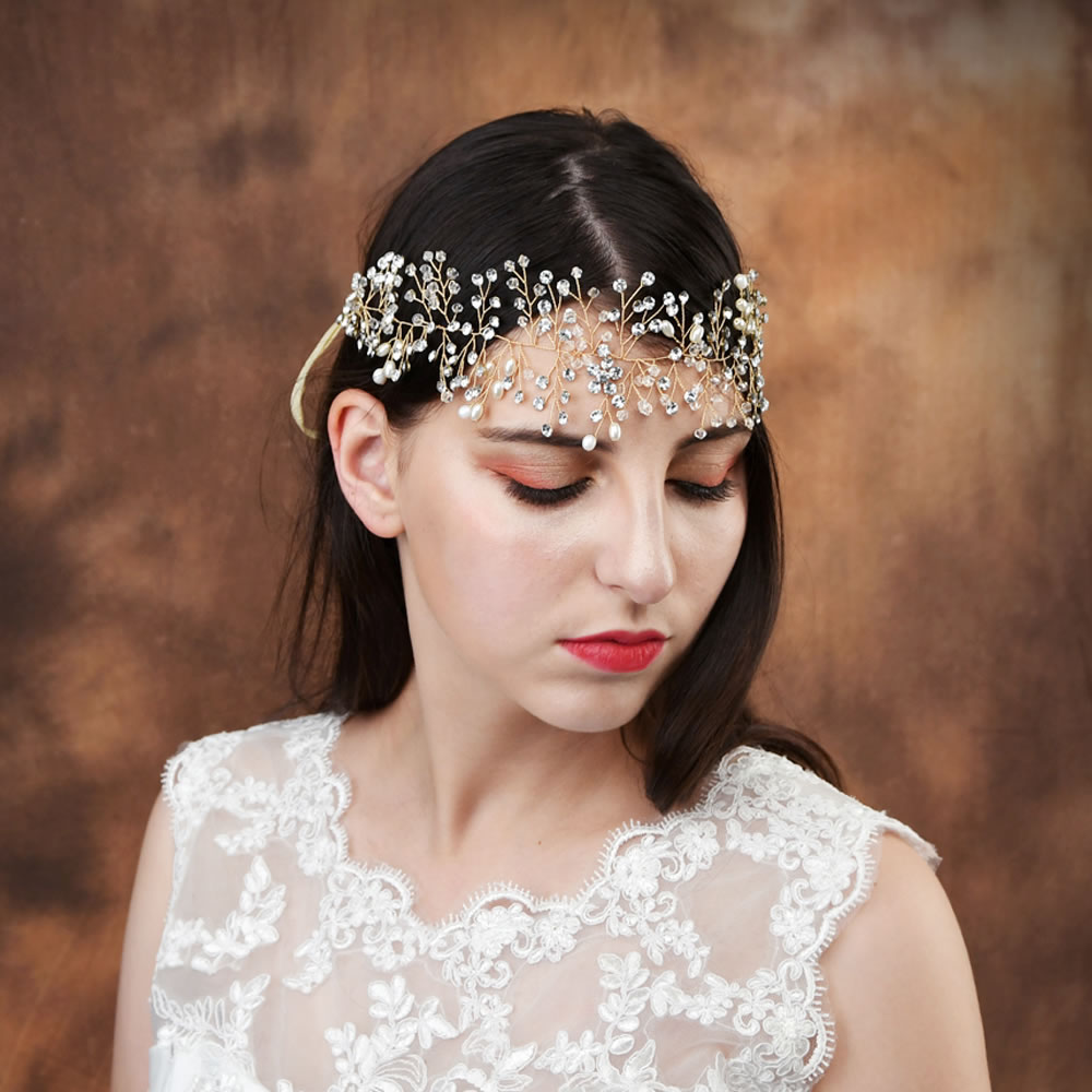 Handmade White Crystal Pearl Flower Headband Bridal Tiaras Headpiece Hair Jewelry Women Hair Wedding Accessories SCHP10G