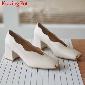 Krazing Pot full grain leather metal mixed colors square toe high heels slip on fashion simple style women spring new pumps L19