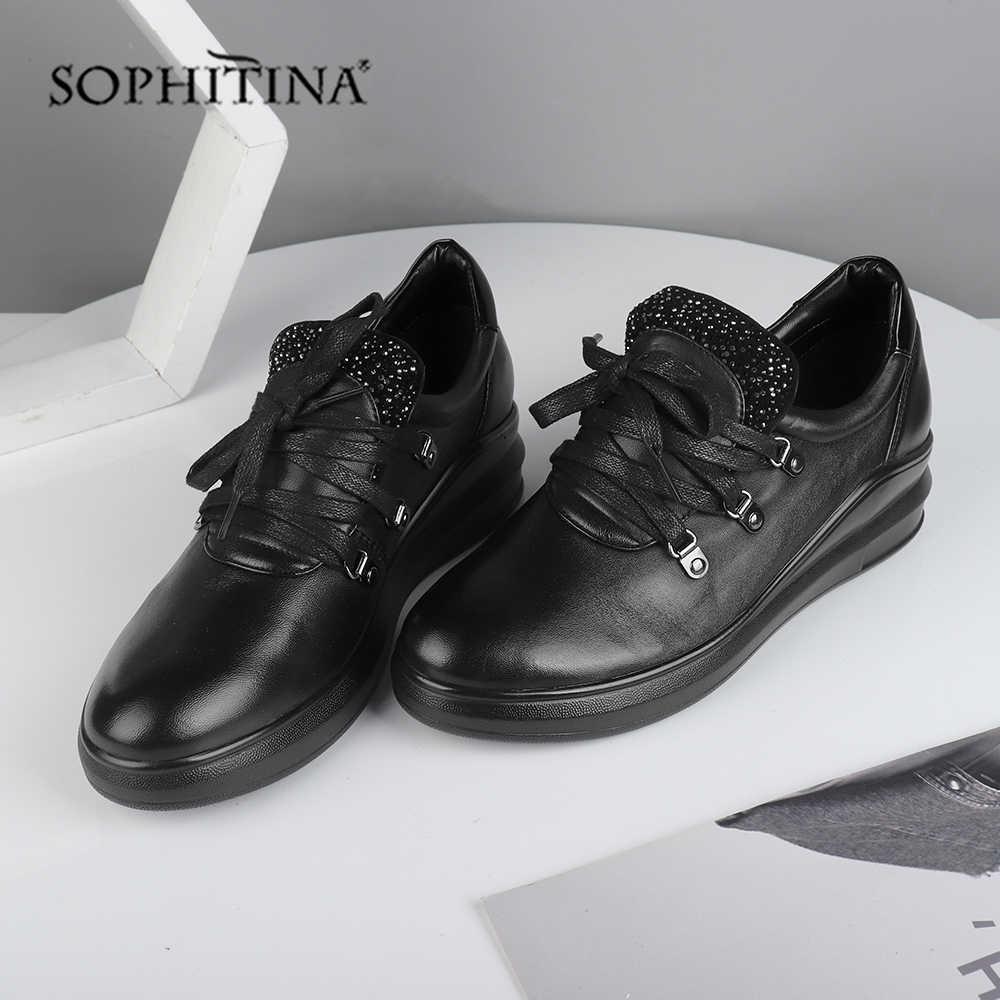 Sophitina Chắc Chắn Thời Trang Đế Bằng Da Thật Cao Cấp Chính Hãng Da Thoải Mái Trang Trí Kim Loại Mới Giày Mũi Tròn Nữ Đế Bằng SC557
