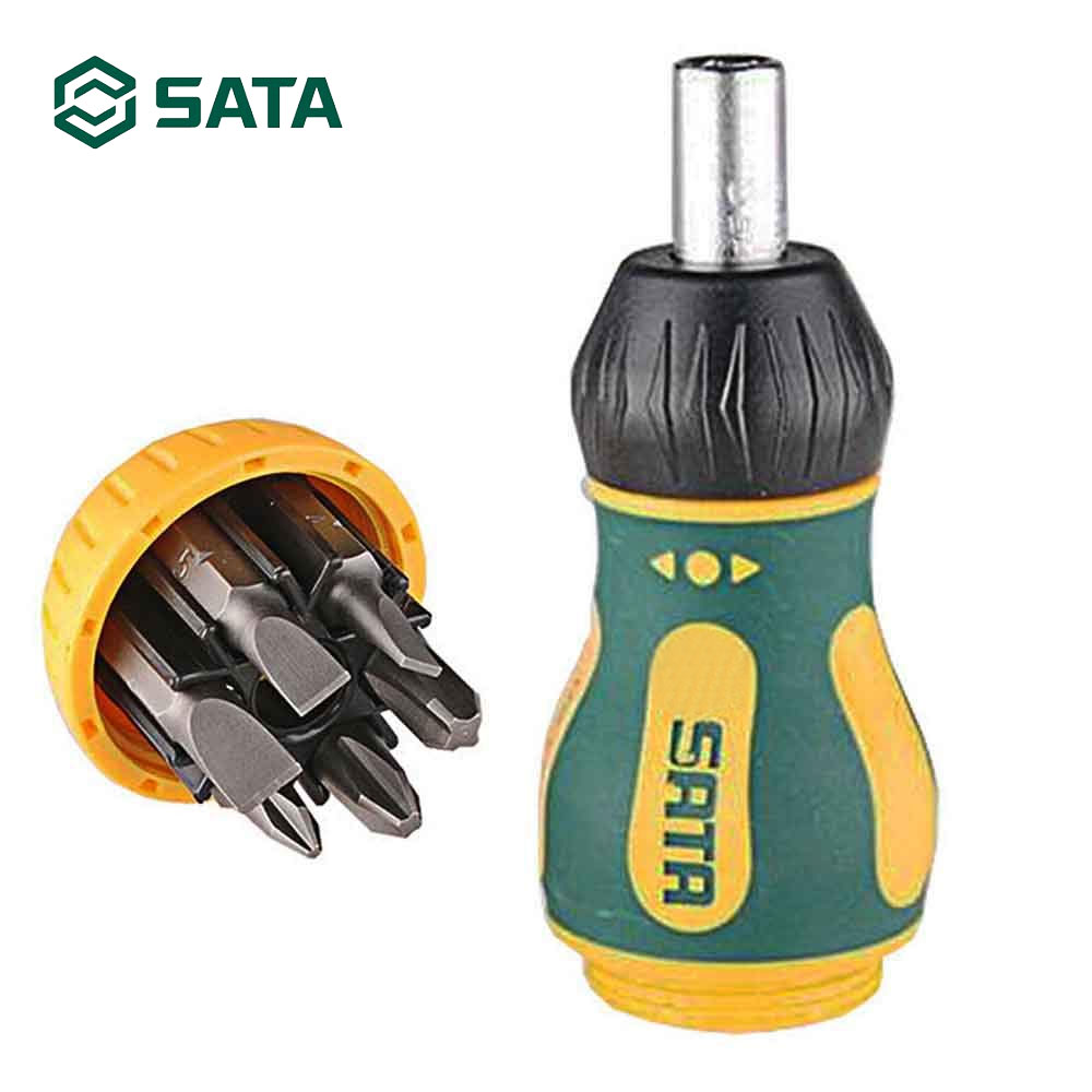 SATA 6 In 1 Stubby Ratcheting Screwdriver Magnetic Multi-Bit Hand Tool For Notework Repair Disassemble Tool 09348