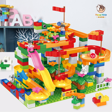 Happymaty Marble Race Run Block Big Size Compatible Duploed Building Blocks Plastic Funnel Slide Assembly Bricks Toys For Kids marble run blocks compatible duploed building blocks funnel slide blocks legoinglys train car diy bricks toys for children gift