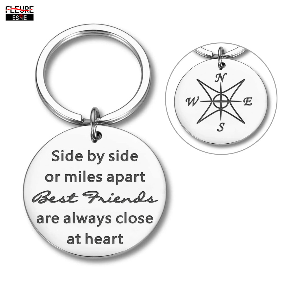Best Friends Keychain for Teen Girls Long Distance Friendship Gifts for Women Birthday Sisters Gifts for Best Friend BFF Keyring(China)
