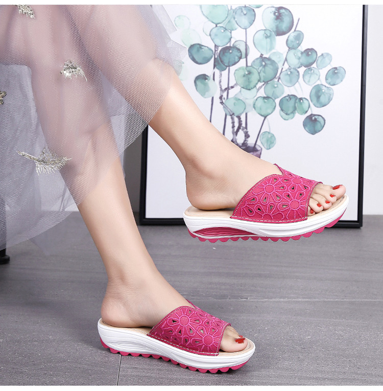AH 1975-2020 Genuine Leather Womens Flat Slides Casual Hollows Summer Beach Flip Flops-15