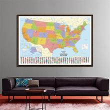 Non-woven Map Of The United States With National Flags Standard Detailed American For Education