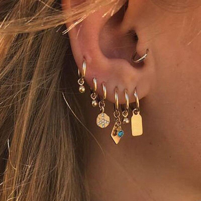 Fashion Simple Bell Zircon Earrings Sets Popular Accessories For Women Creative Earrings Ear Jewelry Gold Color Pendant Earring
