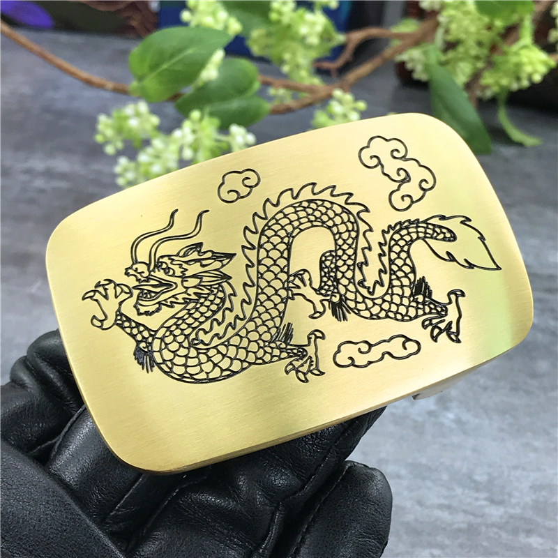 Luxury Dragon Solid Brass Belt Buckles For Men Belt Waist Buckle For Belt DIY Accessories Leather Craft Men Buckle Belt BK0017