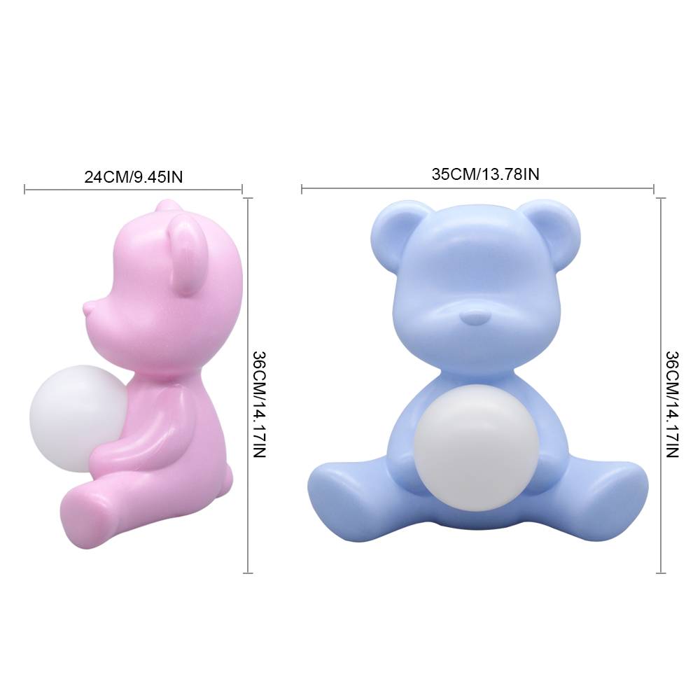 Kid Gift 5W Table Night Light Pink Blue with Plug in, Italy Design Lovely Bear ABS Bedside Study Table LED Light for Girl Boy - 3