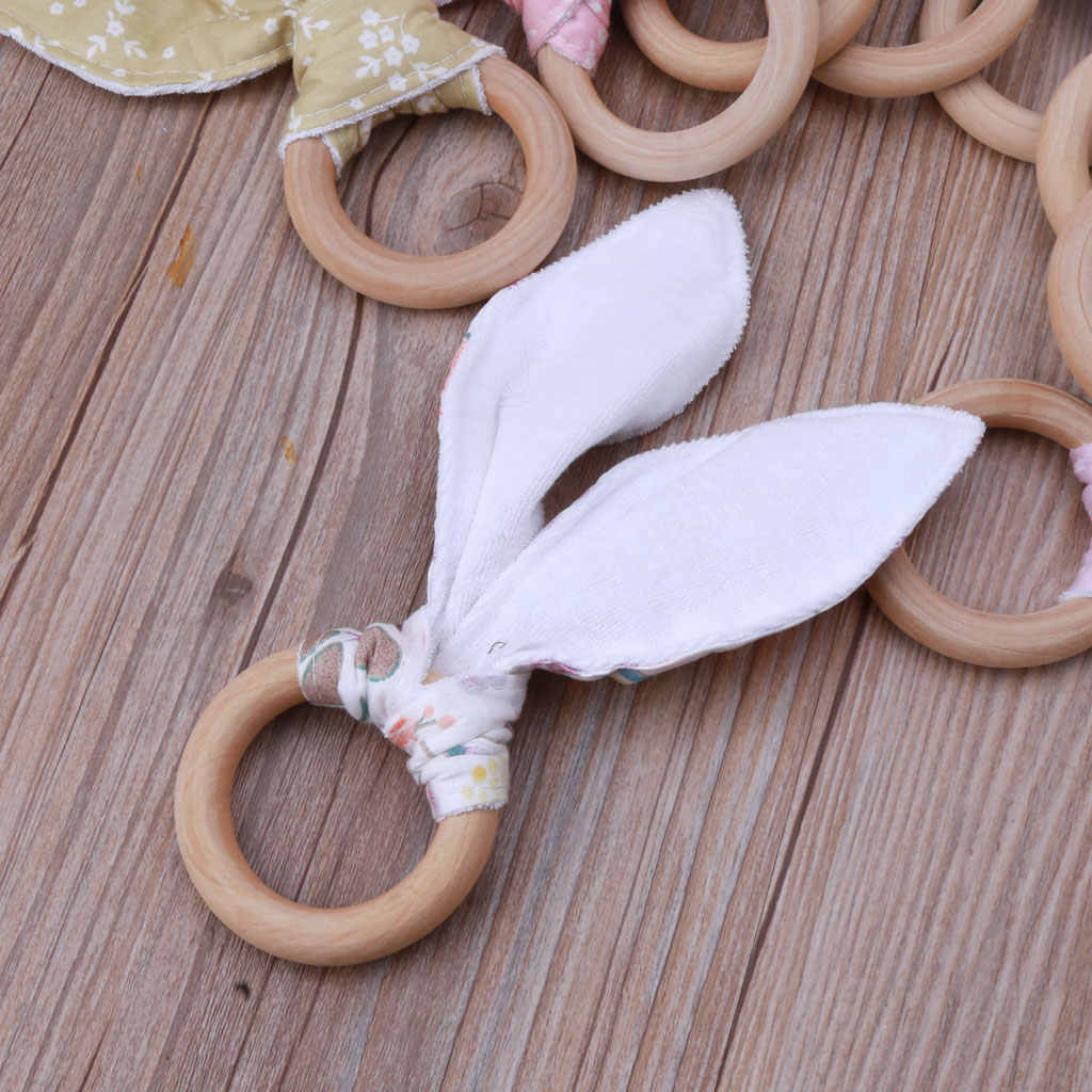 Bayi Anak Laki-laki Anak Perempuan Telinga Kelinci Teether Aman Organik Kayu Teething Ring Mainan Berbagai Warna Pilihan Shower Hadiah Rxjd