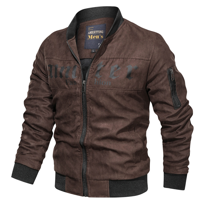 NEGIZBER Men's Jacket Casual Fashion Long Sleeve Stand Collar Jacket Wild Solid Color Jacket Men