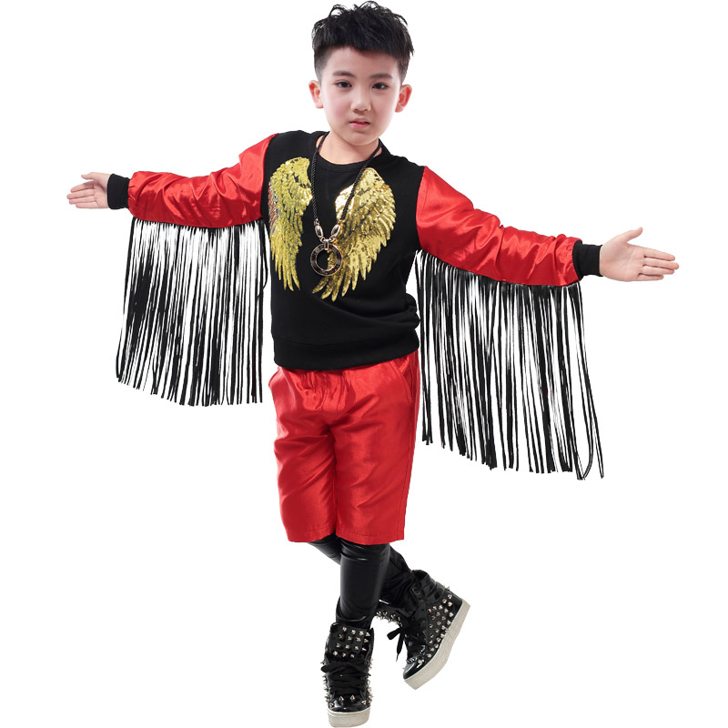 Boys Model Catwalk Stage Costumes Long-Sleeved T-shirt Fringed Suit Hip-Hop Dance Costumes Drum Performance Costume Wear DQS2800