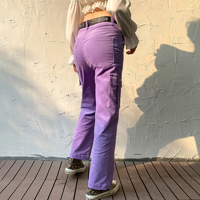 Darlingaga Casual Solid Straight Corduroy Pants Fashion Winter Pockets Trousers High Waist Cargo Pants Women Capris Pantalones 5