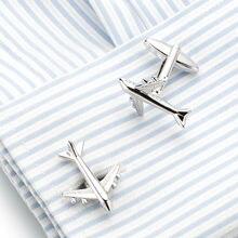 Простые мужские запонки 10 пар посеребренные для пилота в форме