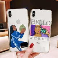 Funda de teléfono para chica Afro, carcasa suave para iPhone 12 11 Pro Max X XR XS 8 7 6S Plus