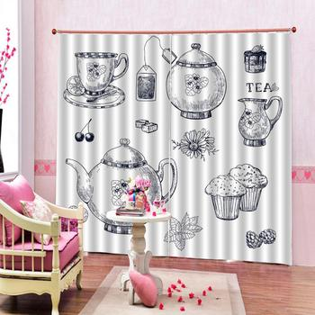 Simple Style Curtains Coffee Bean Kettles and Cupcakes Background Living Room Bedroom Window Drapes