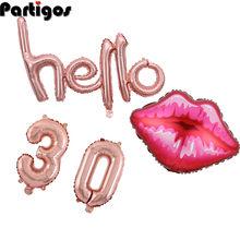 1 takım Hello 30 balon 16 inç numarası büyük boy dudak folyo balonlar gül altın 30th doğum günü partisi tema zemin süslemeleri