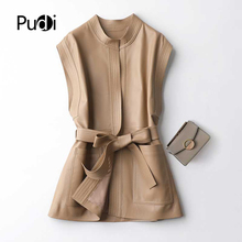 Vest Real-Sheep-Skin-Jacket Voat Genuine-Sheep-Leather Coats Women New PUDI Female Fall/winter