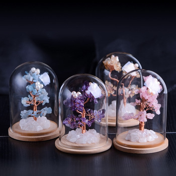 Home Decoration Natural Crystal Flower Tree Purple Powder Yellow Crystal  Handmade Products crystal tree