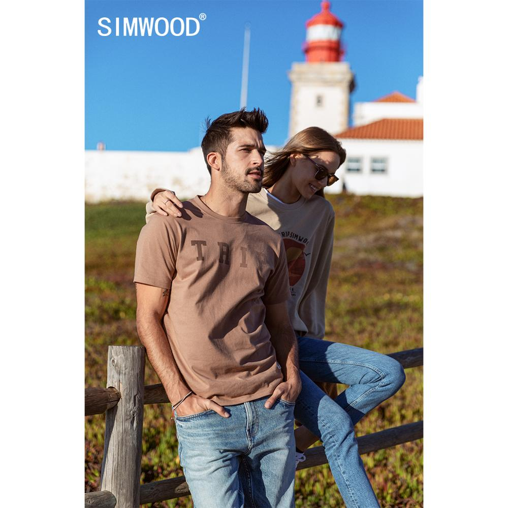SIMWOOD 2020 Summer New T-shirt Men Fashion Letter Print 100% Cotton Plus Size Tops Plus Size T Shirt Brand Clothing SJ170037