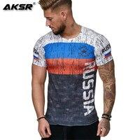 AKSR Summer Russian flag men's casual fashion round neck lightweight T shirt