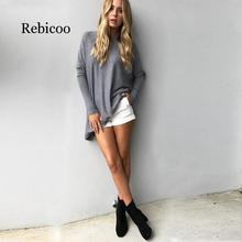 Europe Autumn Warm Sweater New Fashion Solid Color Round Neck Casual Long Pullover Women Batwing Long Sleeve Sweater Femme Top round neck solid color stylish long sleeve men s sweater