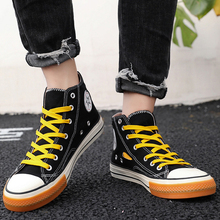 BINHIIRO Men's Vulcanize Shoes High Top Canvas Lace-up Solid Print Antiskid Rubber Flat Sneakers Autumn Casual Male Shoes 2019 недорого