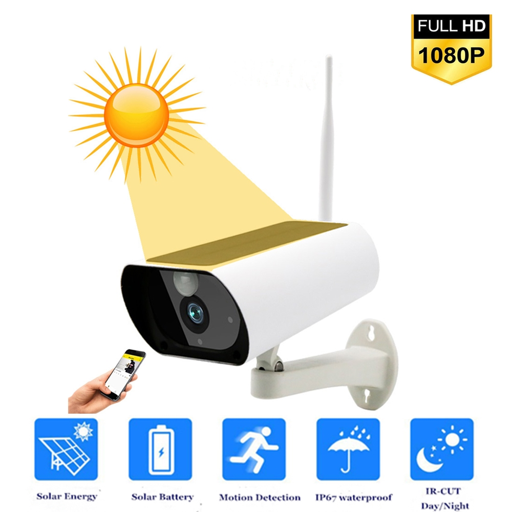 1080P Wireless PTZ WiFi IP Camera Solar Camera With 18650 Battery 4X Zoom Auto-Tracking Outdoor Waterproof Night Vision IR TF Ca