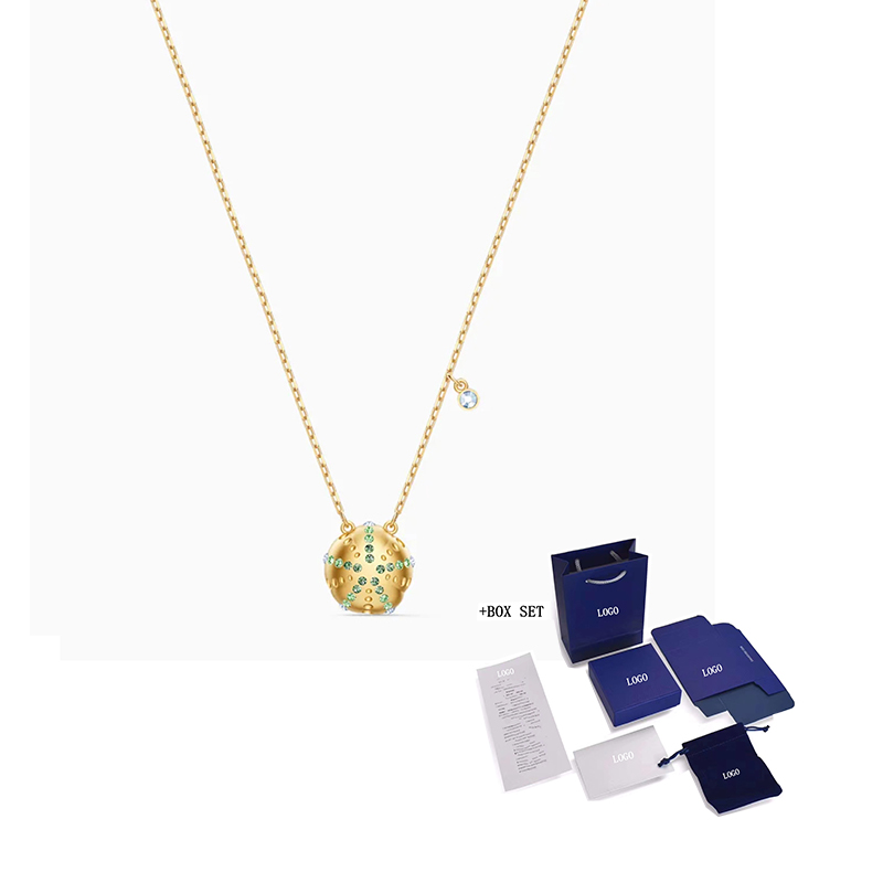 2020 Fashion Jewelry SWA New SHINE URCHIN Pendant Sea Urchin Classic Charm Exquisite Crystal Gold Chain Women Luxury Jewelry Gif