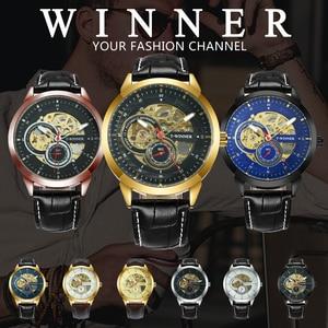 Image 2 - Vencedor oficial relógio mecânico automático masculino esqueleto relógios dos homens marca superior luxo pulseira de couro analógico relógios de pulso para o homem