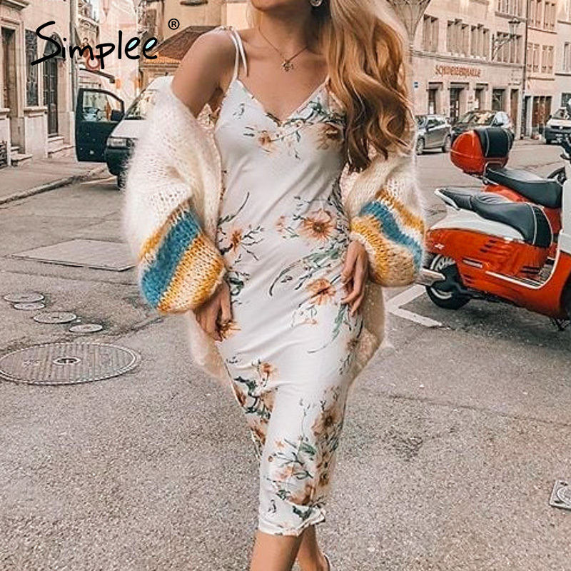 Simplee Holiday Beach Floral Print Women Dress Spaghetti Straps V Neck Female Midi Dress Spring Summer Sexy Ladies Dresses 2020