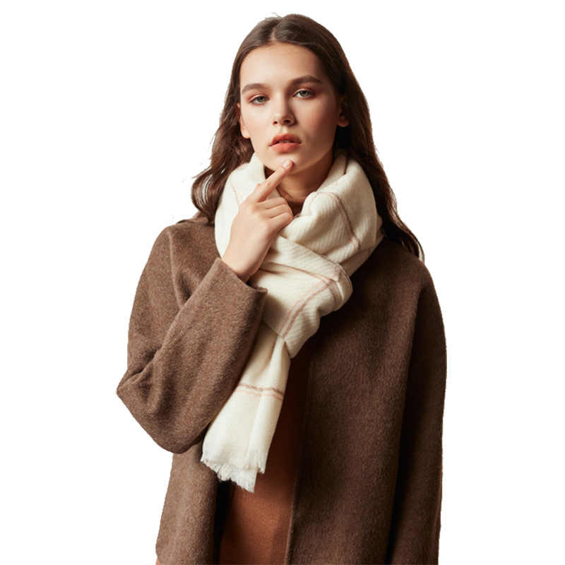 Lady 30% Wool Scarves Women 2019 Oversized Pashmina Scarf Luxury Brand Long Plaid Cashmere Poncho Wrap Bandana Women Cape Winter