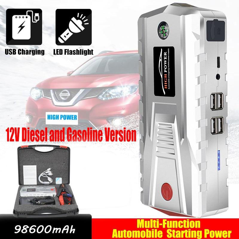98600mAh Car Portable Jump Starter Power Bank 12V 600A Car Booster Jump Starter Waterproof Emergency Car Battery Jump Starter