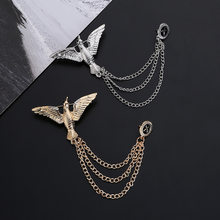 Fashion Retro Gold Eagle Brooch Men Suit Accessories Chain Tassel Brooches Pin Creative Men Metal Pin Vintage Dress Lapel Pins(China)