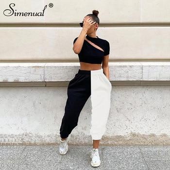 Simenual Casual Sporty Women Sweatpants Autumn Fashion 2019 Patchwork Trousers Workout High Waist Color Blocking Long Pants Slim 2
