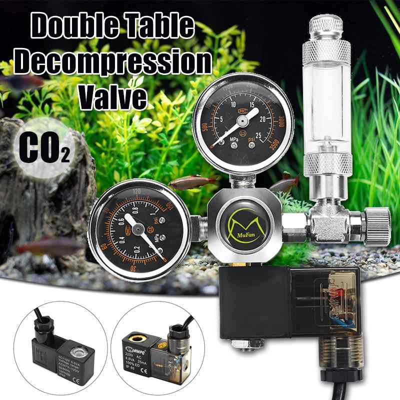 G5/8 W21.8 Aquarium Co2 Regulator System With Check Valve Bubble Counter Magnetic Solenoid Carbon Dioxide Meter Pressure Gauge