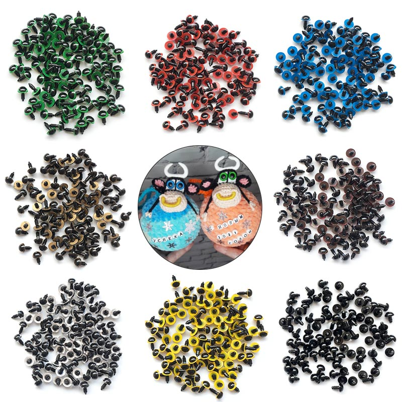 100pcs 8/10/12/mm Mix Color Plastic Safety Eyes Crafts Animal Bear DIY Dolls Puppet Accessories Stuffed Toys with Washer-0