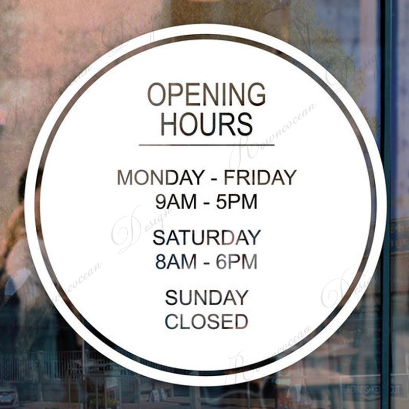 Opening hours sign shop hours Business hours Opening hours decal Opening hours sticker Opening Hours Basic Decal