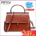 Женская сумка-мессенджер Zency  Черная/серая из 100% натуральной кожи