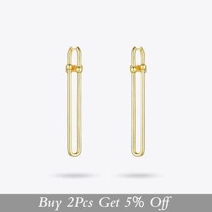 Image 2 - ENFASHION geometrik U şekli damla küpe kadınlar için aksesuarları altın rengi Minimalist uzun Dangle küpe moda takı E1134