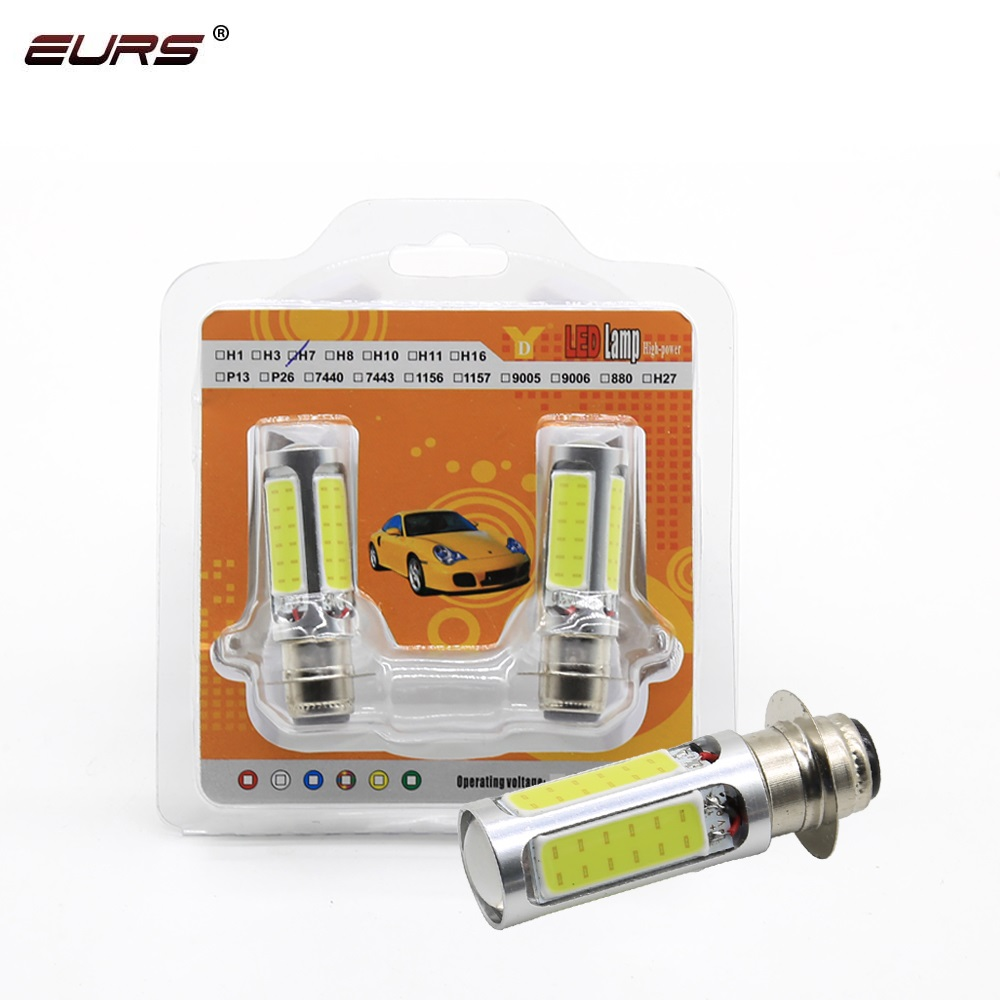EURS (TM) 2 Pcs All In One H6M P15D Lights Led 25 W 5COB 1000lm 6000k 25W DC12V Motorcycles Led Lamps