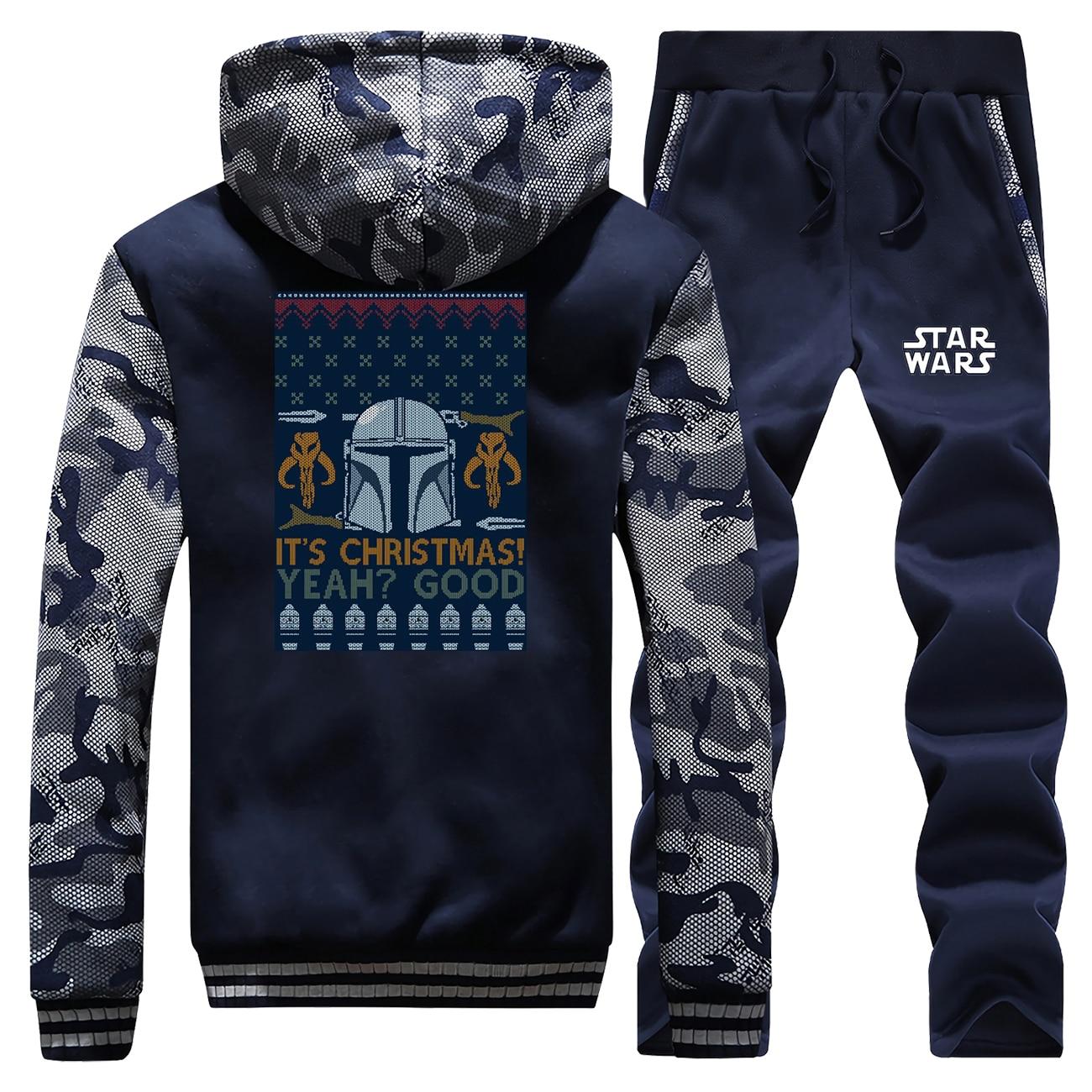 Mandalorian Winter Camo Pans Sets Jacket Baby Yoda Men Fleece Thick Warm Jackets And Coats Hoodies Star Wars Pants Sets Hoody