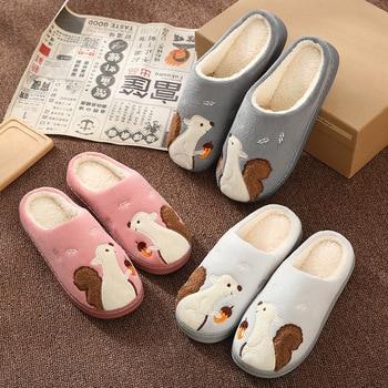 Cartoon Squirrel Women Winter Home Slippers Lovers Couple Soft Sole Warm House Shoes Men Women Girl Boys Indoor Bedroom Slippers 2