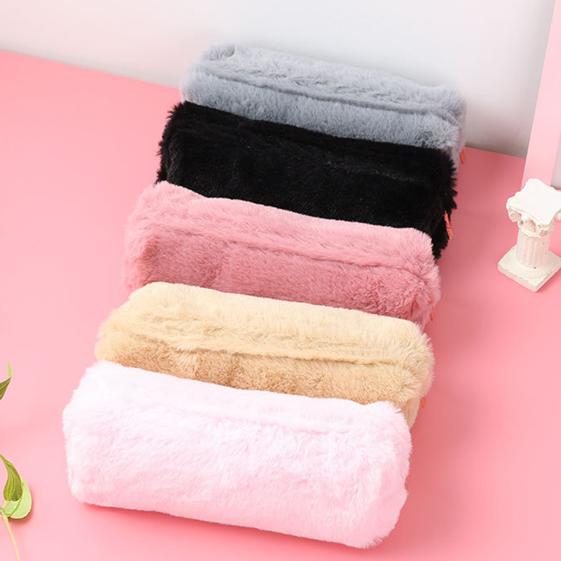 Kawaii Plush Pencil Case For Girls Pen Bag Solid Color Pencilcase Gifts School Stationery Supplies High Quality