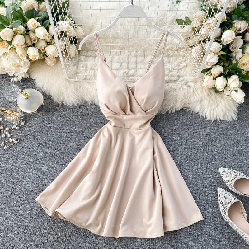 Femmes a-ligne robe Sexy col en v Spaghetti sangle dos nu Mini robes couleur unie Vestidos mince tendance 2020 taille haute pour la fête