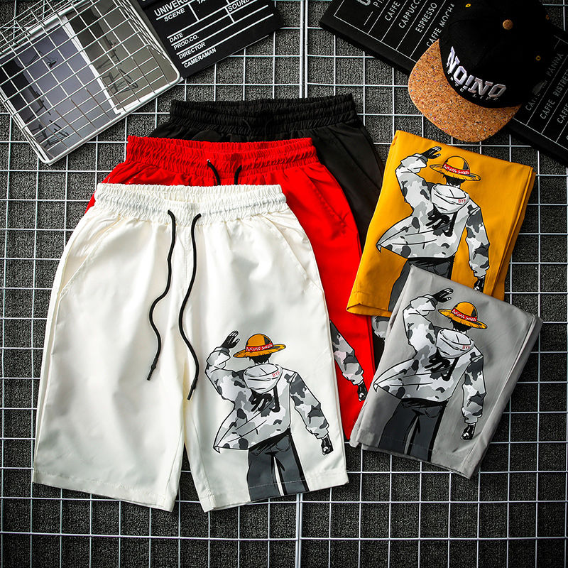 Men's Summer Hip-hop Casual Shorts Streetwear 2020 Fashion Home Shorts Men's Loose Comic Print Shorts Plus Size